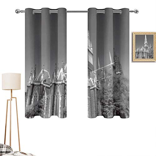 """MartinDecor Parliament Hill Building in Black and White in Ottawa Blackout Curtains Canada Top Blackout Draperies and Drapes for Living Room, 63""""x63"""""""