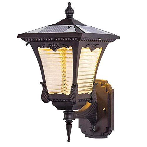 ZHIRCEKE Luz Solar LED LED de Pared al Aire Libre,luz Blanca/luz cálida, luz de Pared rústica al Aire Libre, lámpara al Aire Libre Impermeable IP54 para balcón, Patio, jardín