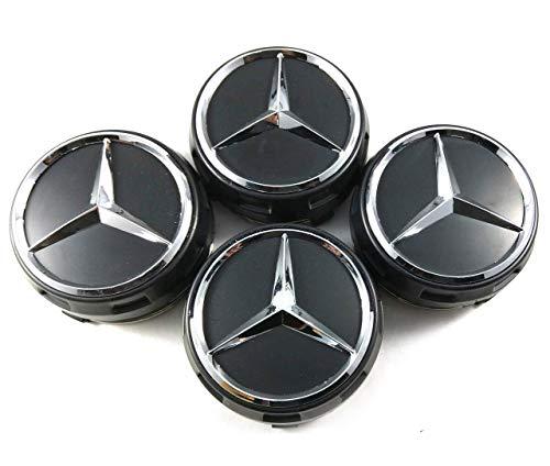 UG 4X Tappi Coprimozzo 75mm Logo Mercedes Nero Rialzato AMG Classe A B C E CLA CLK M ML S 4Matic - per Borchie Cerchi Lega
