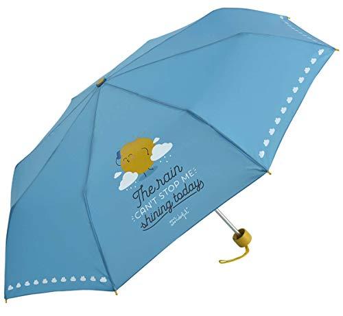 Mr.Wonderful - Paraguas Plegable Manual | Paraguas Antiviento Pequeño y Compacto Ideal para Viajes, Mujer - Azul