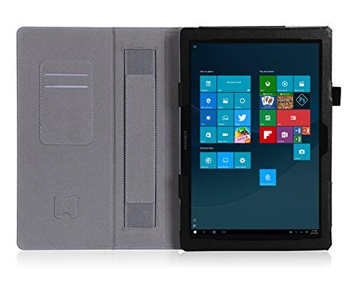 ISIN Schutzhülle Tasche Stand Cover für Samsung Galaxy Tabpro S 12 Zoll SM-W700 W703 W708 Windows 10 2-in-1 Tablet PC(Schwarz)