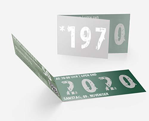 Runder Geburtstag Einladungskarten 50 Jahre Geburtstagseinladungen - Zeitsprung Einladung für runden Geburtstag 50er Feier Dunkelgrün-Silber (30)