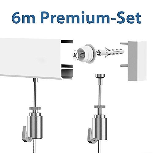 Leha Bilderschienen Galerieschienen Bilderleiste Premium Komplett-Set 6m weiß
