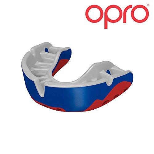 Opro Platinum Formbarkeit Mundschutz, für Rugby, Hockey, Martial Arts, MMA, Boxen, Fußball Kontakt Sport–mit 18Monat Dental Garantie, Blue/Pearl/Red