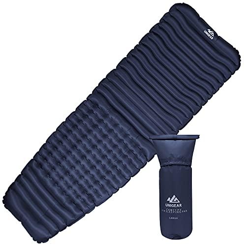 Unigear Camping Isomatte, 7,62 cm, R-Wert 2, Ergonomie, Camfy P3 , Aufblasbare Luftmatratze Camping, Schlafmatte für Outdoor, Feuchtigkeitsbeständig und rutschfest (Regelmäßig breit, Blau)