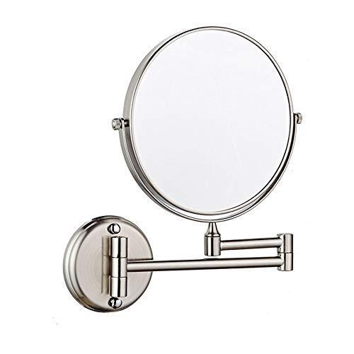 8 Pouces Miroir Mural Grossissant x3 Fois Grossissement-Extension Pliant-Rond-Double Face-360 Degrés Rotation Miroir Grossissant Miroir Salle De Bain Peut être Monté avec Forage