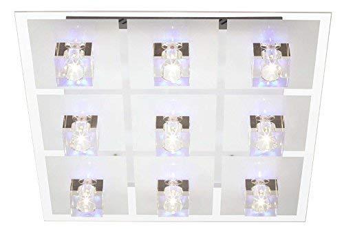 Brilliant Sandor Deckenleuchte 9 flg Fernbedienung RGB Farbwechsel Klarglas Party Glas 1755 Lumen, 9x G4 16W Niedervolt-Halogenpins inklusive