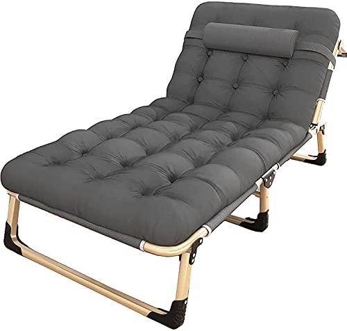 MUZIDP Zero Gravity - Silla de salón ajustable con cojín plegable para acampada al aire libre, reclinable, para camping, piscina, playa, apoyo, gris, 194 x 75 x 30 cm