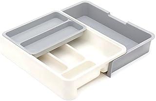 HornTide Bac à tiroirs 3-en-1 Ensemble de rangement extensible pour rangement Porte-vaisselle en plastique pour la récepti...