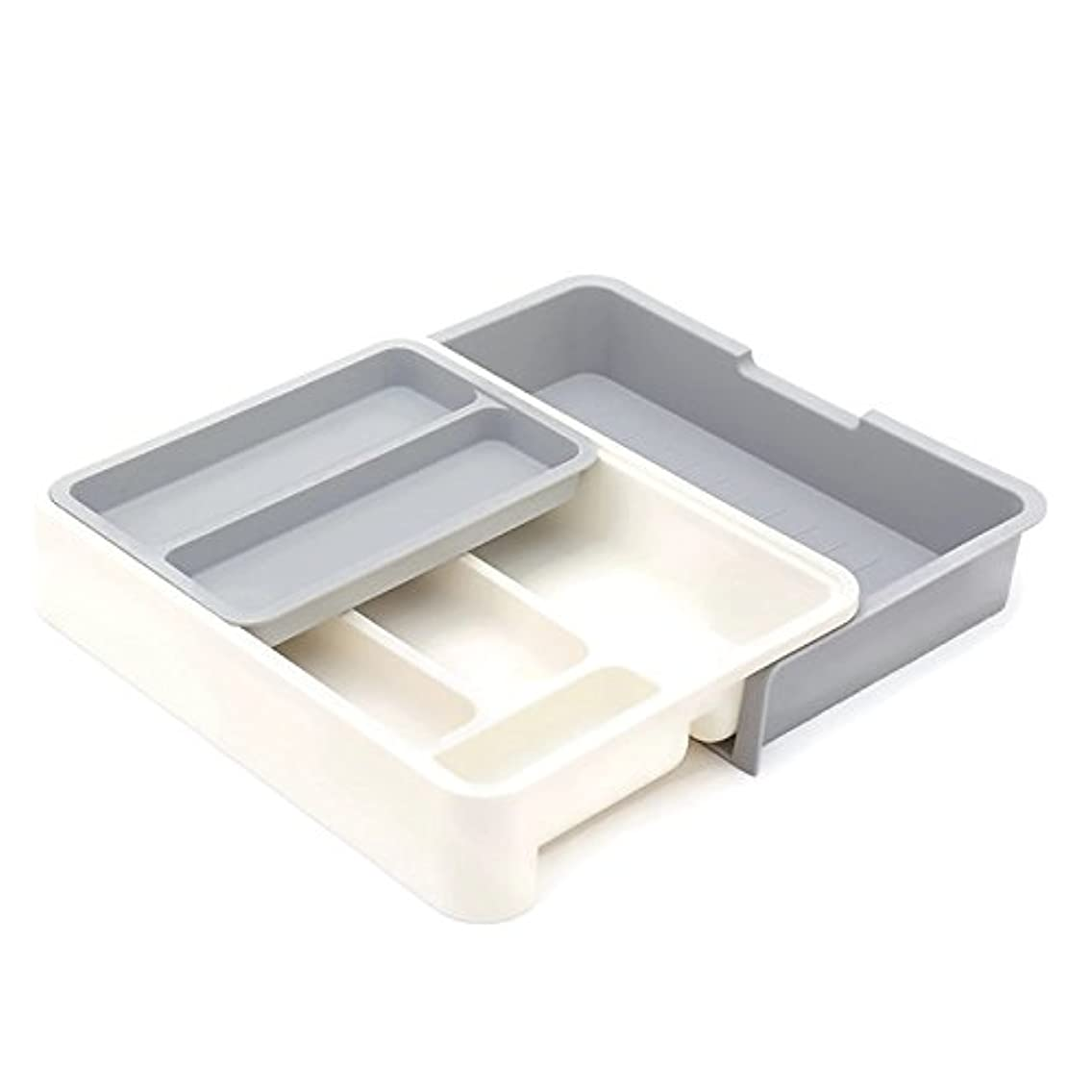 HornTide 3-in-1 Drawer Tray Expandable Utensil Storage Organizer Plastic Tableware Holder for Cutlery Receive and More - Gray