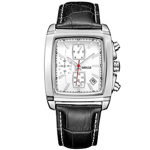 Relojes para Hombre Moderno, Reloj Rectángulo Blanca, Relojes Militar Cuero Negro con Calendario Reloj de Pulsera de Cuarzo para Hombres, Resistente al Agua