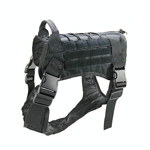 Petvins Tactical Dog Molle Vest Harness K9 Service Vest Adjustable Outdoor Training Costume Camouflage Harness Black Size M