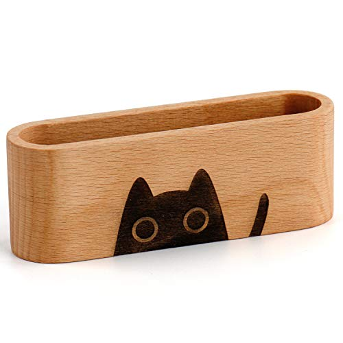 YOYAI Natural Wooden Name Card Holder Wood Business Card Holder Office Desktop Card Display Stands Cat Dog Engraved Cute