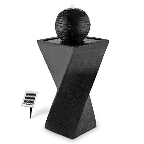 blumfeldt Schonbrunn Basalt Edition - Fuente Solar, Bomba de 200 L/h, Interior y Exterior, Batería 8 h de duración, Iluminación LED, para Exteriores, Diseño Piedra basalto