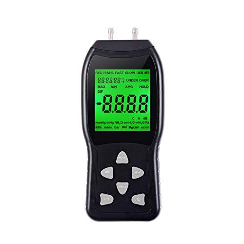 Winjun Digital Manometer Differenzdruckmanometer Luftdruckmessgerät LCD Bildschirm mit Hintergrundbeleuchtung Große 12 Maßeinheiten für Industrie Electronik Breiche