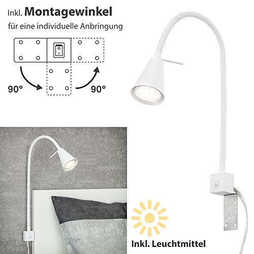 Briloner Leuchten LED Bettleuchte, Bettlampe Flexarm, inkl. An-/Ausschalter, 4 Watt. 400 Lumen, 3.000 Kelvin, Weiß, 4 W