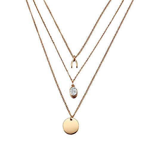 Collares Colgante Joyas Nuevos Collares para Mujer, Colgante De Corazón, Cadena De Clavícula, Conjunto De Collar De Oro Multicapa, Jewelry-43676