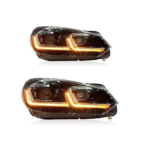 2 Stück Scheinwerfer-Bausätze 2009 2010 2011 2012 2013 für Golf 6 Projektor Doppellicht Xenon HID Kit mit LED-Tagfahrlichtern