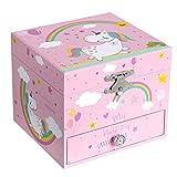 SONGMICS Ballerina Musical Jewelry Box, Music Storage Box for Kids Ages 3 to 5, Cute Unicorn Theme, The Unicorn Melody, Pink UJMC013PK