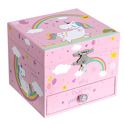 SONGMICS Ballerina Musical Jewelry Box for Kids Ages 3 to 5, Cute Unicorn Theme, 4.7'L x 4.3'W x 3.9'H, Pink