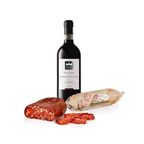 Kit Aperitivo 'I gusti decisi' vino rosso Morellino di Scansano DOCG Roggiano, Spianatina piccante 250g e Salame gran filetto 170g, Salumi Pasini