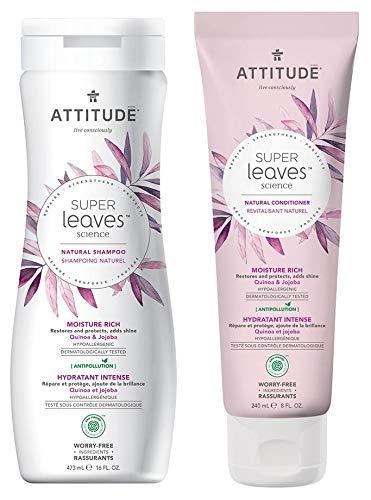 ATTITUDE Super Leaves Moisture Rich Shampoo and Conditioner Bundle With Quinoa, Vitamin B5, Jojoba, Indian Cress, Watercress and Jasmine, 16 fl. oz. and 8 fl. oz.