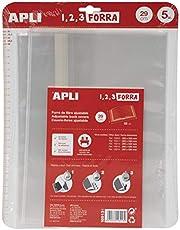 APLI 16913 - Forro de libros con solapa ajustable de polipropileno. Medida 29 x 53 cm, 75 µ. Pack de 5 u.