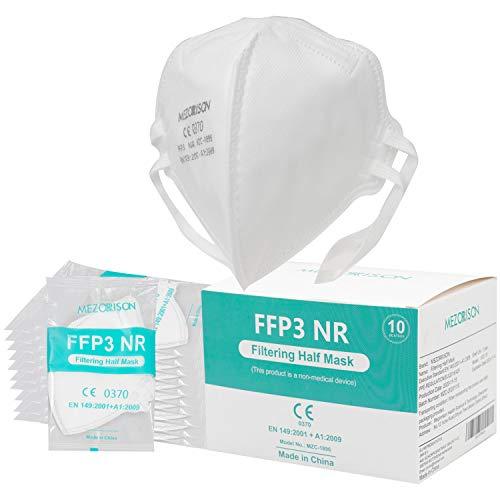 10X FFP3 Maske Atemschutzmasken, Mehrschichtige Einweg-Atemschutzmaske mit hoher Filtrationskapazität, gemäß EN 149: 2001 + A1: 2009