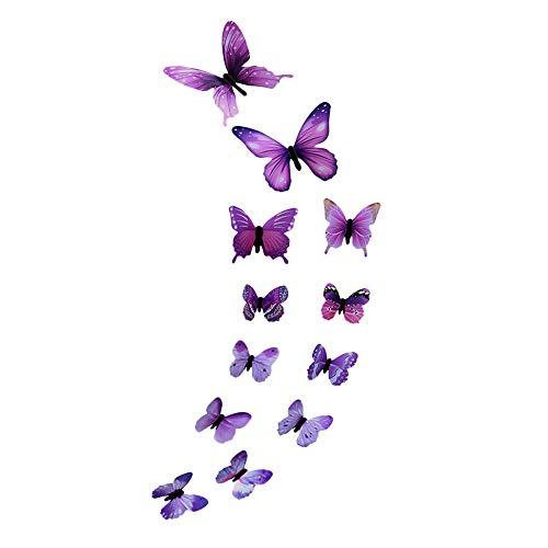 Wandaufkleber Vimoli 12 stücke Leucht Schmetterling Design Aufkleber Kunst Wandaufkleber Raum Magnetische Wohnkultur (Lila)