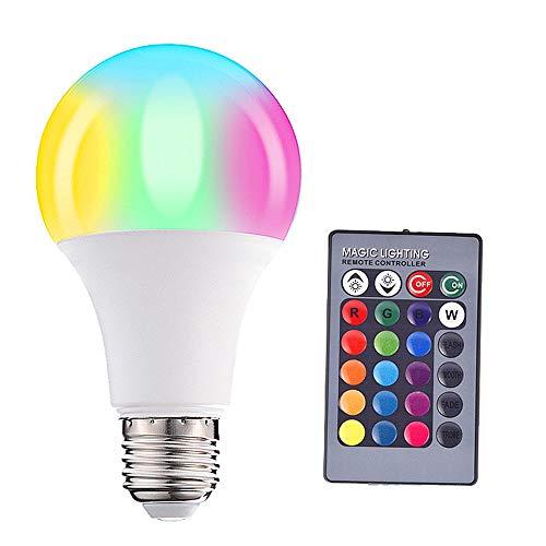 BEAUTOP E27 RGB Farbwechsel-Glühbirne mit Fernbedienung, Smart Lights mit 16 Farben für Zuhause, Urlaub, Dekoration, ABS, Colorful/15w, 15w