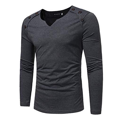 Camiseta de Manga Larga con Costuras de Talla Grande para Hombres nuevos, Camisa de Fondo Delgado de Color sólido