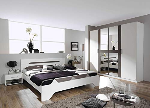 AVANTI TRENDSTORE - Rubi - Camera da Letto Completa, compreso Il Fusto del Letto con 2 comodini e l'armadio con Specchio, Disponibile in 2 Diversi Colori (Grigio-Bianco)
