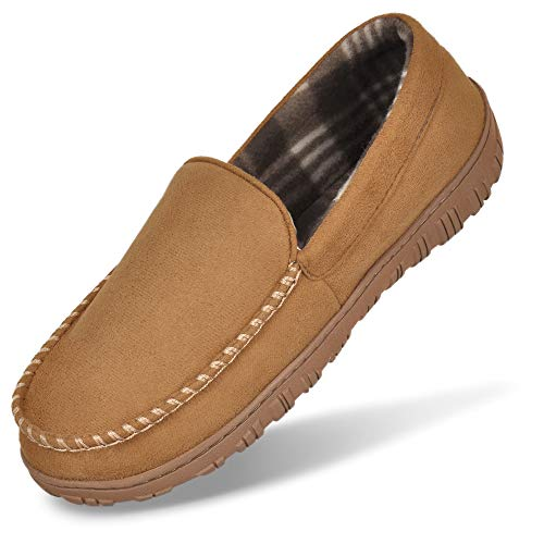 MIXIN Men's Slippers Moccasins House Shoes Indoor Outdoor Slip On Rubber Sole LightBrown 11.5 M