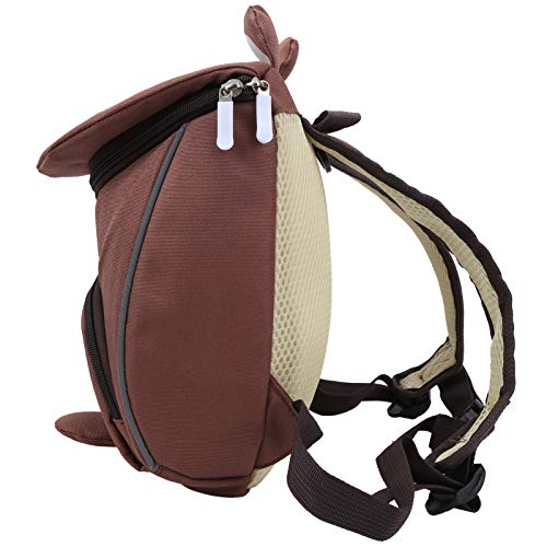 Plyisty Book Bag, Easy to Clean Ergonomic Children Backpack, Double Shoulder Strap Design, Home Kinderparten for Child Baby(Bear Brown)