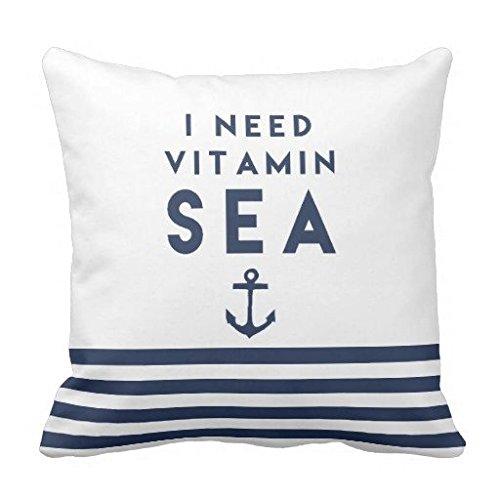 I Need Vitamin Sea Navy Anchor Quote Throw Pillow Case