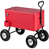 Giantex 80QT Wagon Cooler Rolling Cooler Ice, with Long Handle and 10' All Terrain Wheels, Portable Rolling Bar Party Cold Drink Beverage Chest Patio Outdoor Cooling Cart, Red