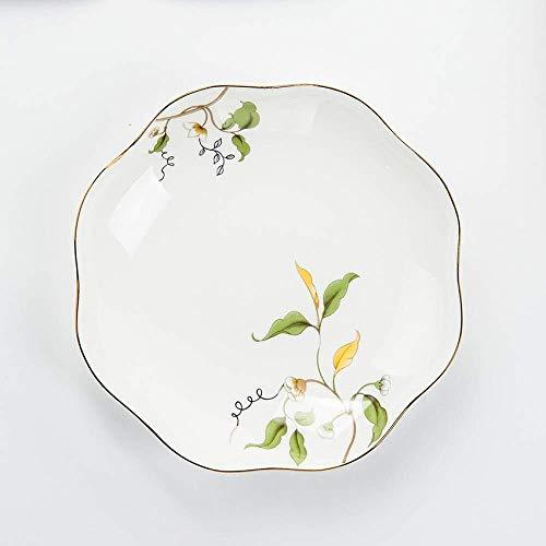 KANJJ-YU GYHJGSimple China de Hueso del vajilla 8 Pulgadas Boca Placa de cerámica Placa Irregular de Hoja de Loto Placa Plana de 8 Pulgadas Sopa Cocina