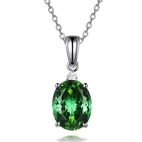 necklace Ladies fashion Oval solid platinum 9CT gorgeous natural tourmaline gem diamond pendants married Hoisting