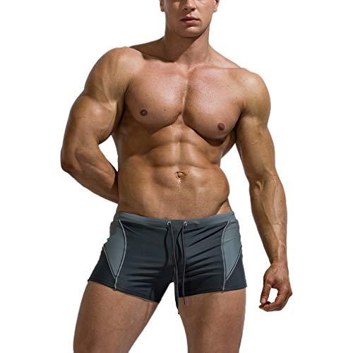 Xmiral Badehose Herren Verbindung Farbe Niedrige Taille Kordelzug Boxer Strandhosen Kurze Hosen Schnelltrocknend Verstellbarem Surf Shorts Badeshorts(a Grau,XL)