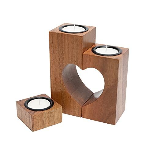 Plogis Herz Teelichthalter aus Holz - Set aus 3 Dekorativen Kerzenständern | Wohnungs-Deko & Romantische Kerze | Geschenk für Freundin, Hochzeit, Familie | 15cm Groß | aus Akazienholz
