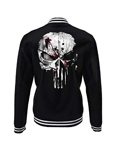Punisher College Jacke Blood Skull Logo Marvel schwarz weiß - M