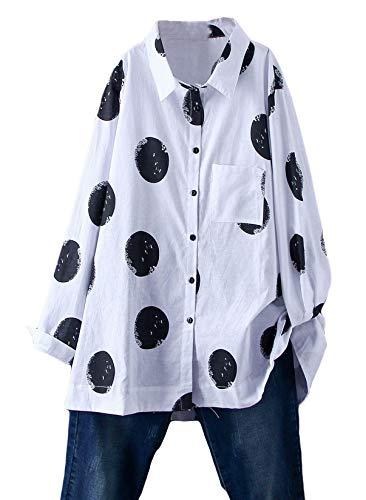 FTCayanz Damen Bluse Langarm Shirts Polka-Dots Locker Hemd Freizeit Oberteil Weiß XL