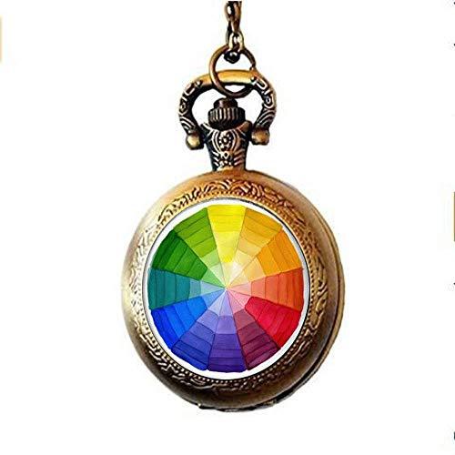 Collar de reloj de bolsillo con rueda de color, collar de reloj de bolsillo artístico, regalo de artista, regalo de profesor de arte
