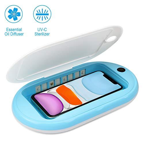 Aimtel UV Sterilisator Desinfektion,Handy Desinfektion UV Desinfektionsgerät Box Aromatherapie Funktionsdesinfektor für iPhone Android Handy Bluetooth Ohrhörer Watches (Blau/Weiß)
