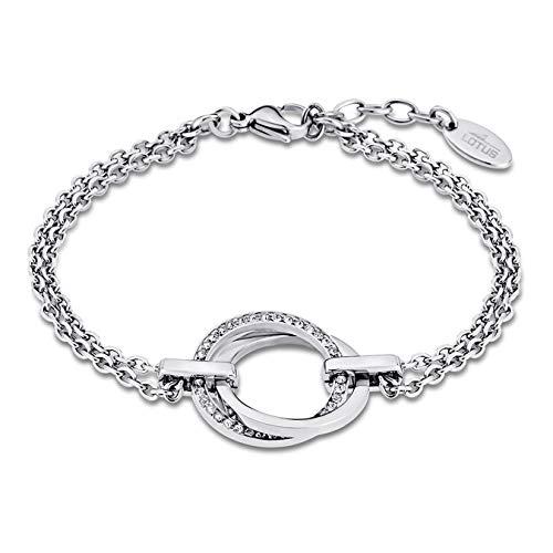 LOTUS LS1780/2/1 -Pulsera para mujer de acero inoxidable, color plateado, circonitas blancas, 21,5cm