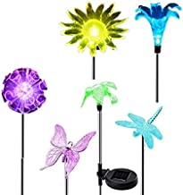 Dcolor Solar Ground Lights Garden Waterproof 6 Pack LED Figurine Color Changing Light for Outdoor Yard/Garden Christmas Decor