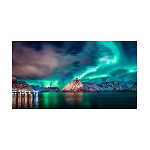 VSOO Cuadro Auroras Boreales Nieve Cielo Estrellado Impresión de Lienzo Mural de Paisaje Natural Northern Lights para...