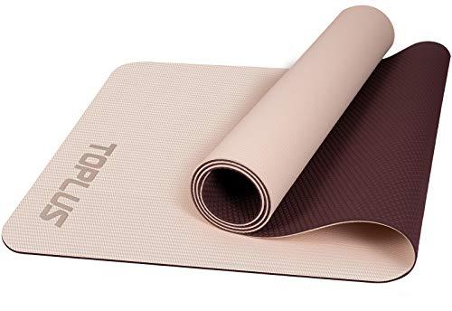 TOPLUS Yogamatte Gymnastikmatte Trainingsmatte Übungsmatte mit Tragegurt rutschfest gut für Anfänger bei Yoga für Fitness, Pilates & Gymnastik, 183 x 61 x 0,4 cm (Weiß & Rot)