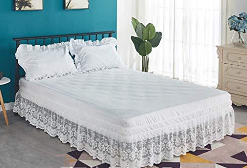 Falda de Cama con Volante Elastico de polialgodón, de fácil Cuidado, Lavable a máquina, Volantes de 38 cm (Color : White, Size : 180 * 200+38cm)