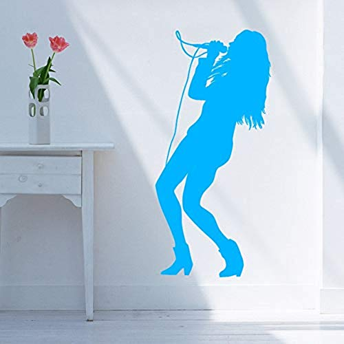 Muurtattoo, mooie en klassieke vinyl, wandstickers, karaoke-Club, zangerlieder, stickers voor microfoon [grootte: 30 x 64 cm]